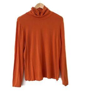 Gap Long Sleeve Turtle Neck Orange Top